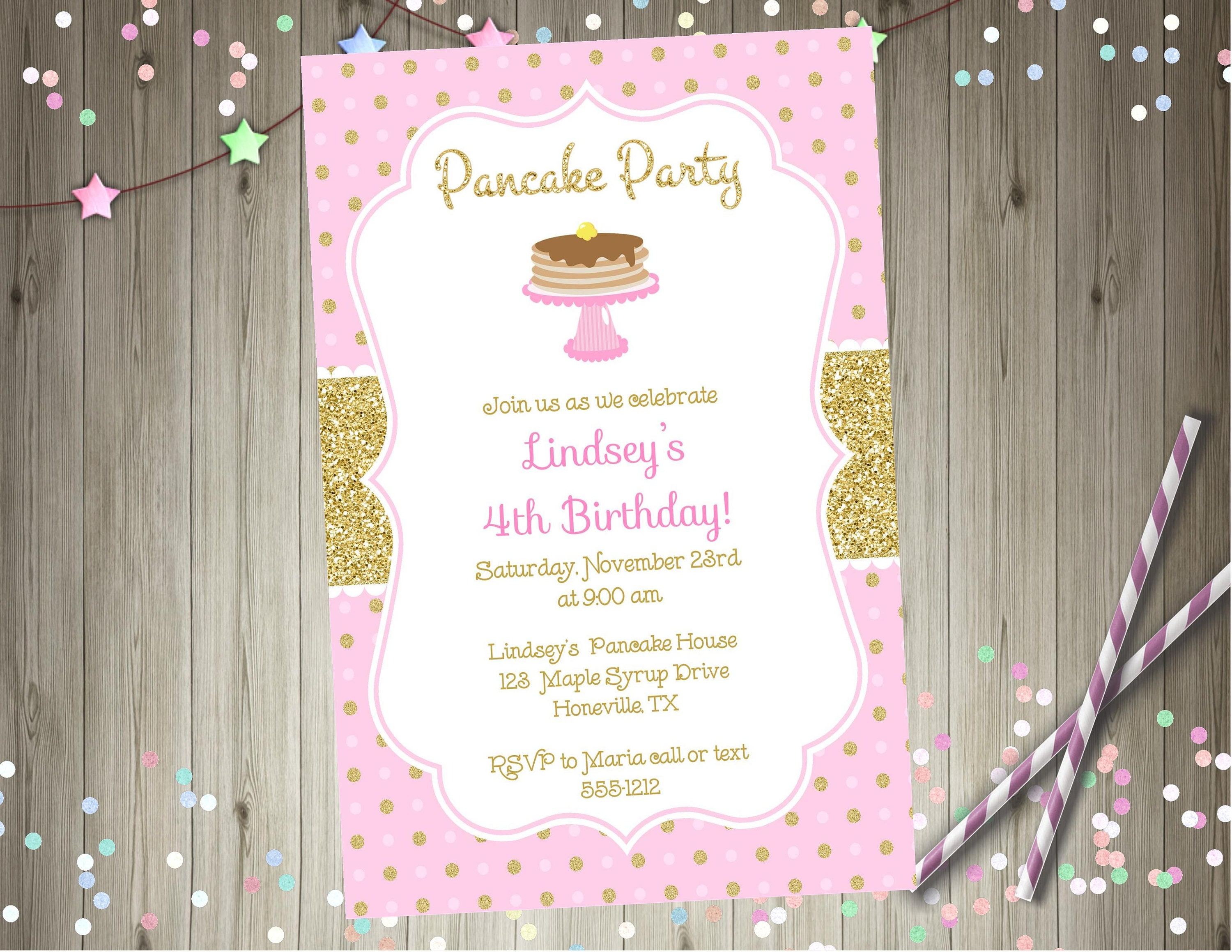 Pancake party birthday invitation pink and gold pancake party | Etsy