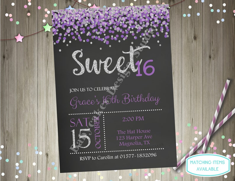 Sweet 16 Birthday Invitation Invite Purple And Silver Sixteen Party Printable