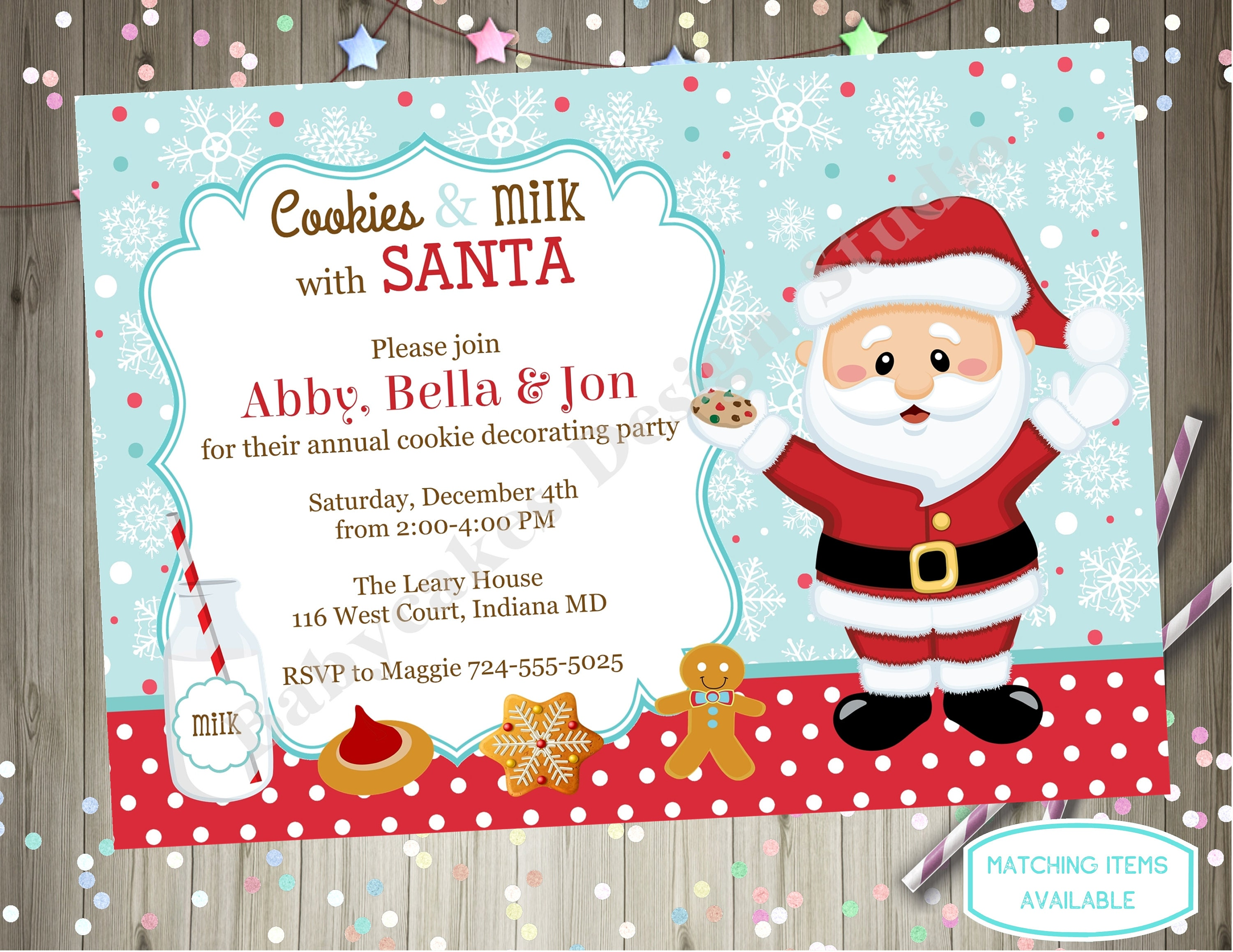 Milk And Cookies With Santa Invitation Invite Cookie Decorating Party