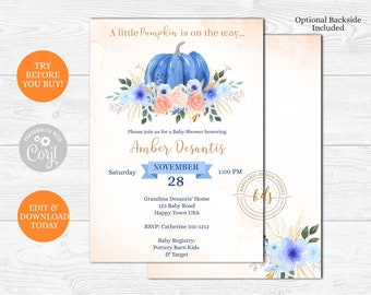 Editable Pumpkin Boy Baby Shower Invitation, Baby Sprinkle, Gender Neutral shower Invite, Printable, Digital