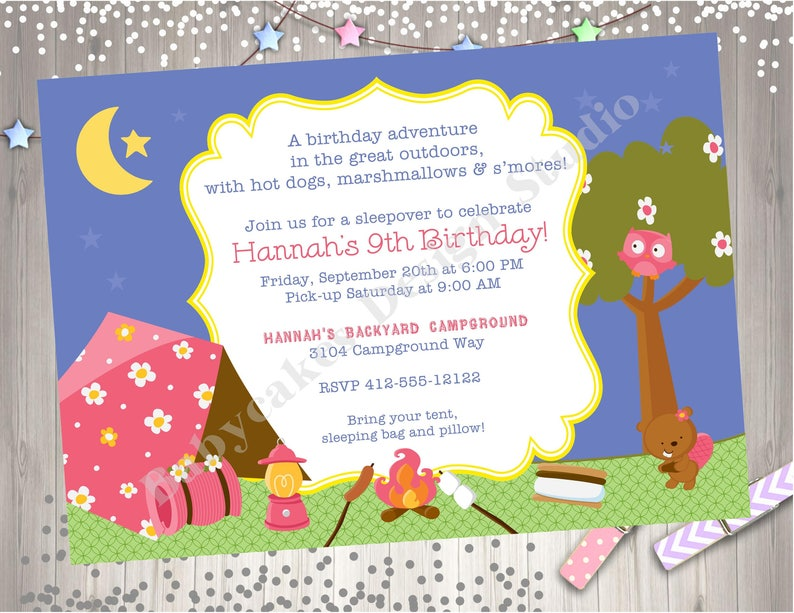 Girl Camping Birthday Invitation Invitations Bonfire Sleepover Campfire Cookout Party Printable