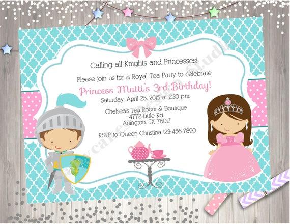 royal tea party birthday invitation invite knights princess etsy