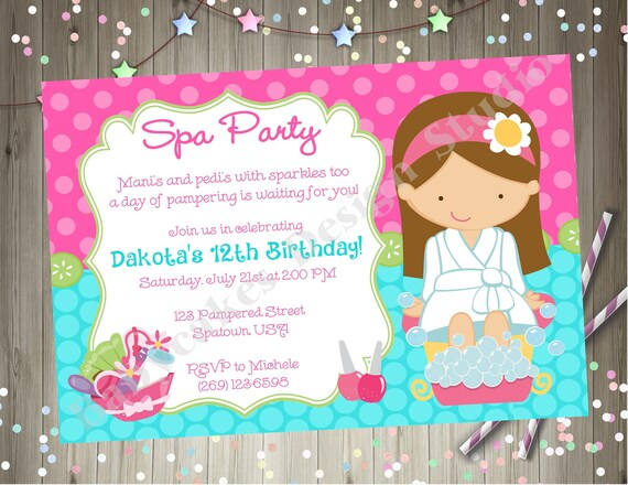 graphic relating to Spa Party Printable called Spa Get together Birthday Invitation Invite Spa Birthday Occasion