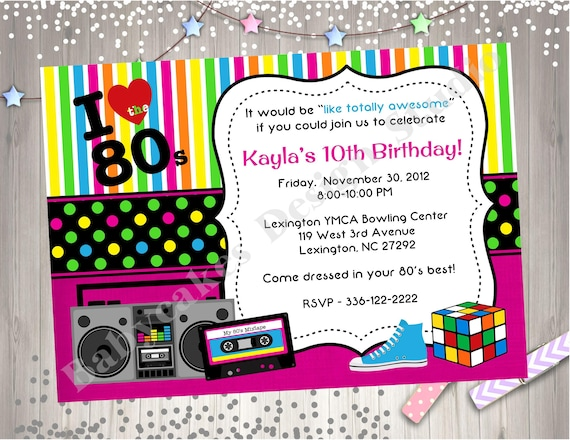 80 s invitation 80 s birthday invitation invite 80 s theme birthday