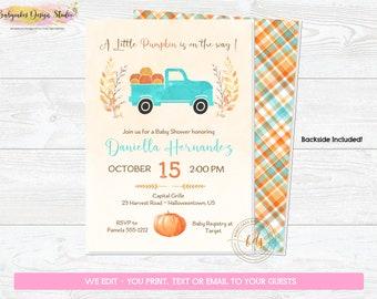 Boy Pumpkin Baby Shower Invitation, Invite, Digital, Printable