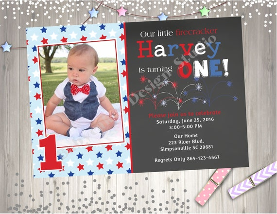 4th Of July Birthday Invitation Invite Little Firecracker 1st Photo Picture Chalkboard