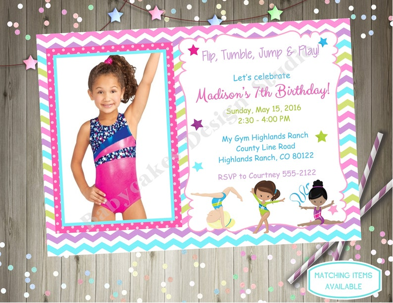 Gymnastics Birthday Invitation Gymnastic With