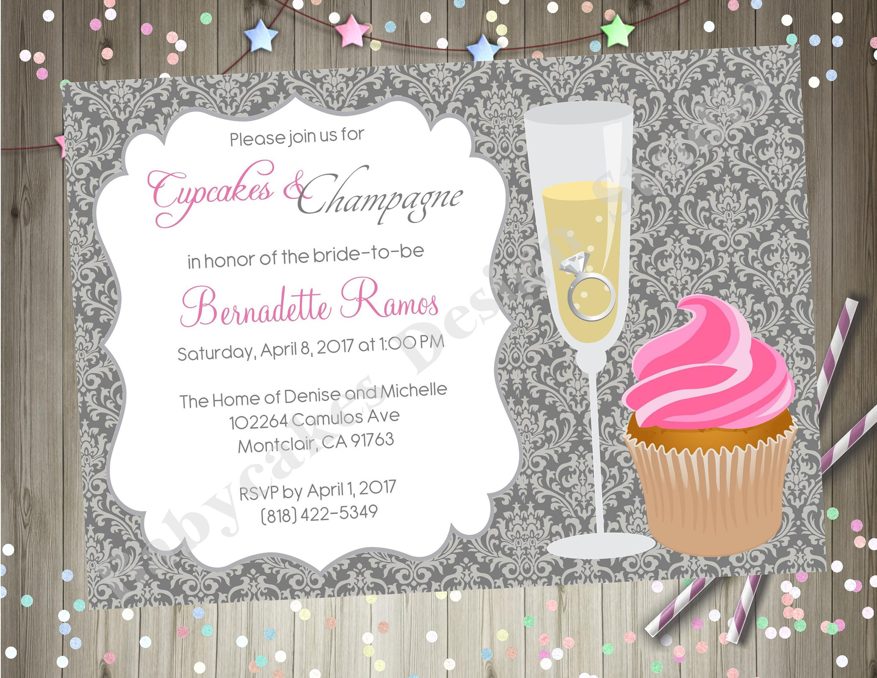 Cupcakes and Champagne Bridal Shower Invitation Invite Bubbly | Etsy