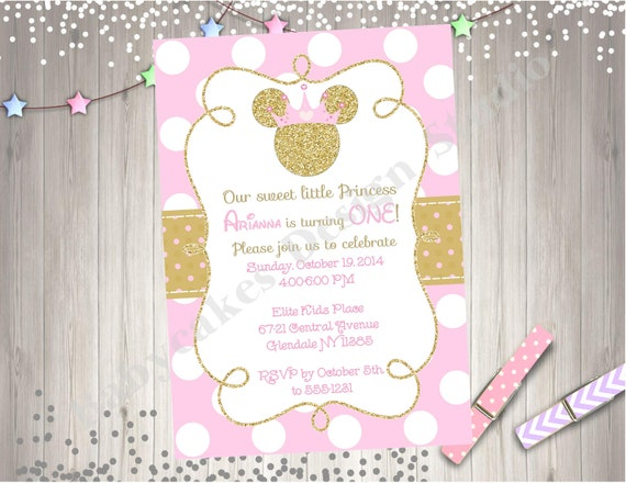 Pink And Gold Princess Minnie Mouse Birthday Party Invitation Invite 1st 2nd Printable