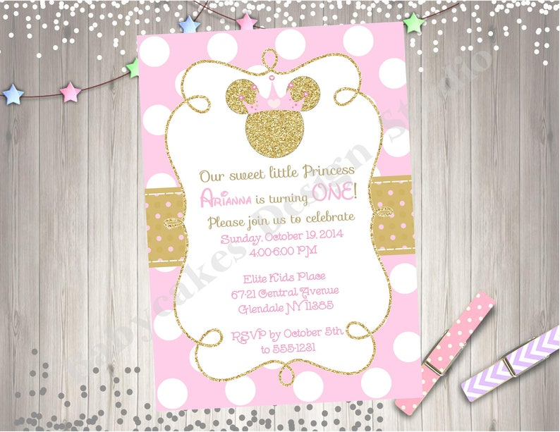 Pink And Gold Princess Minnie Mouse Birthday Party Invitation