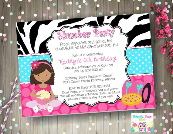Slumber Party Invitation Sleepover Birthday Invite Pajama Printable DIY Print Your Own CHOOSE GIRL