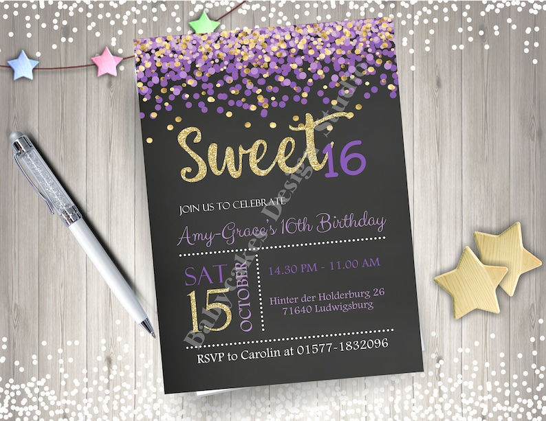 Sweet 16 Invitation Purple And Gold Birthday Party