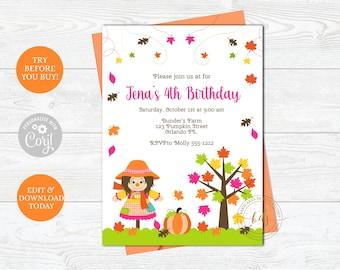 Editable Fall Harvest Pumpkin Birthday Invitation, Scarecrow Invite, digital, printable