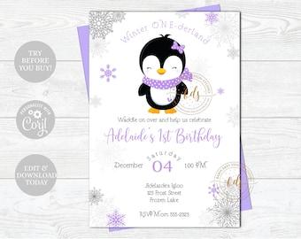 Editable Girl Winter Onederland Penguin Birthday Invitation, Invite, Printable, Digital