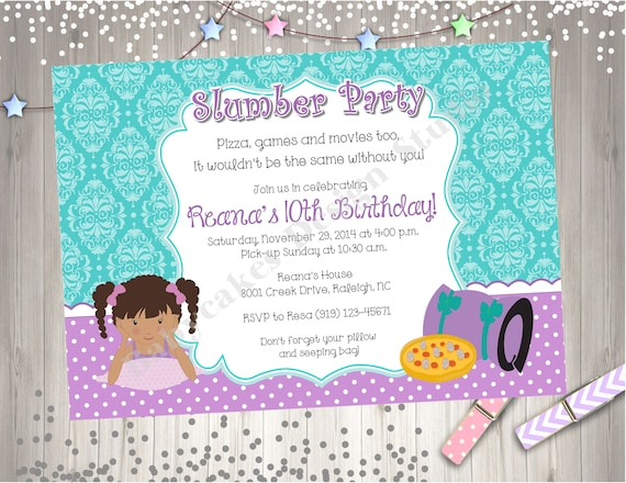Sleepover Birthday Party Invitation Invite Slumber Party Pajama