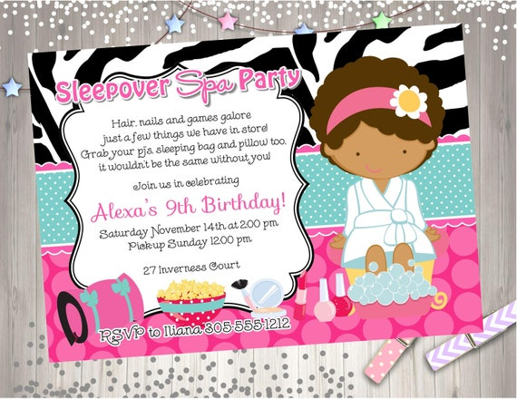 Spa Sleepover Birthday Invitation Invite Party Printable CHOOSE YOUR GIRL