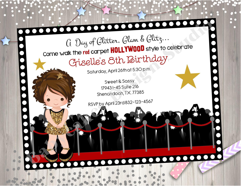 Hollywood Diva Birthday Party Invitation invite Dress Up | Etsy