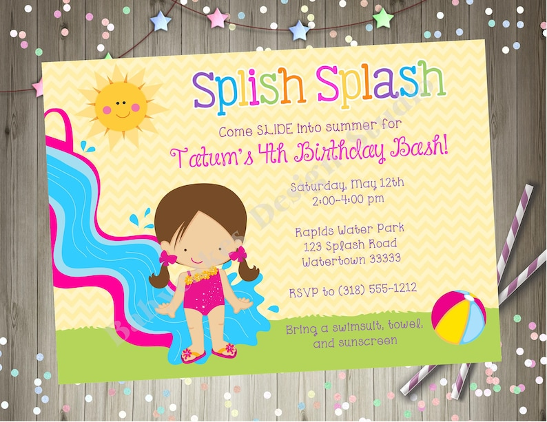 Water Slide Birthday Party Invitation Splash Invite Waterslide