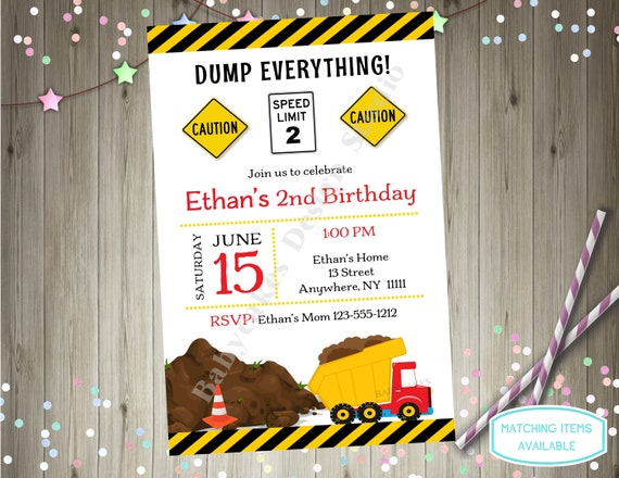 Dump Truck Birthday Party Invitation Construction 2nd Boy