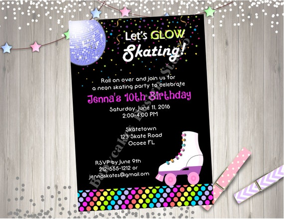 Neon roller skate birthday party invitation roller skating neon il570xn filmwisefo