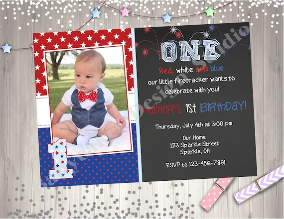 4th Of July Birthday Invitation Invite Red White Blue Boy 1st Photo Picture Chalkboard