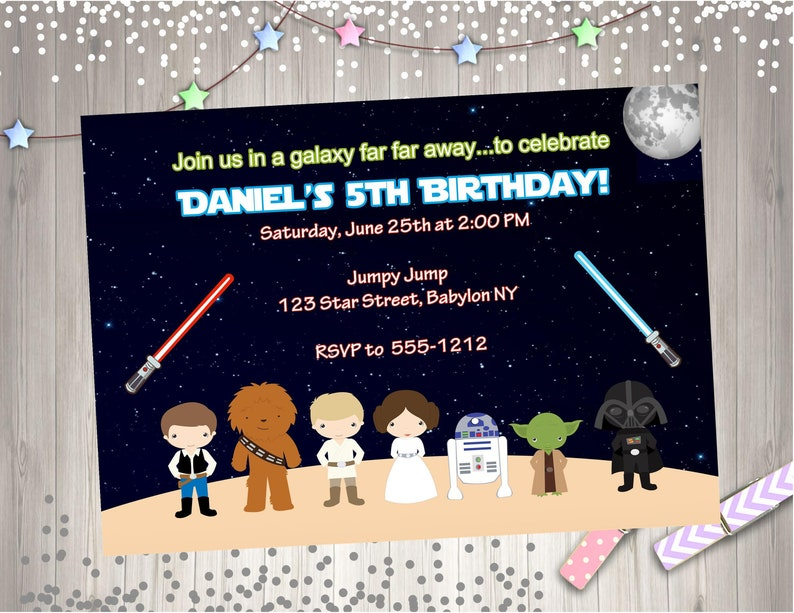 Star Wars Birthday Party Invitation Invite Printable