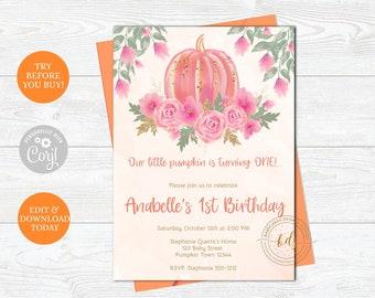Editable Girl Pumpkin Invitation, Invite, 1st birthday, printable, digital