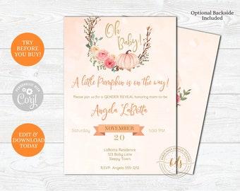 Editable Gender Reveal Party Invitation, Baby Shower, Baby Sprinkle, Digital, Printable