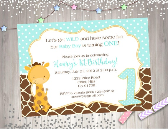 Wild One 1st Birthday Party Invitation Invite Giraffe