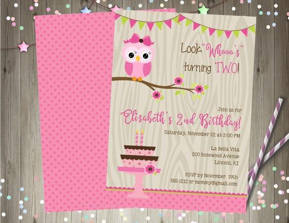 Girl Woodland Owl Birthday Invitation Invite Party Printable Any Age