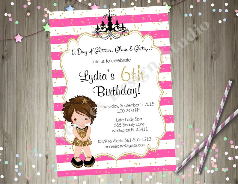 Hollywood Diva Birthday Party Invitation Glamour Party Invitation Choose Your Girl