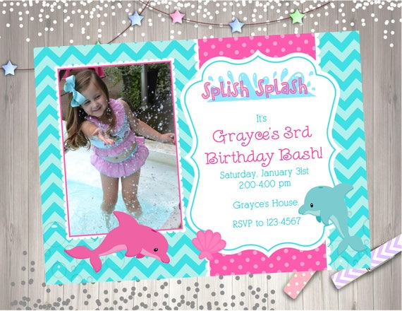 Dolphin Birthday Party Invitation Invite Pool Printable Photo Picture