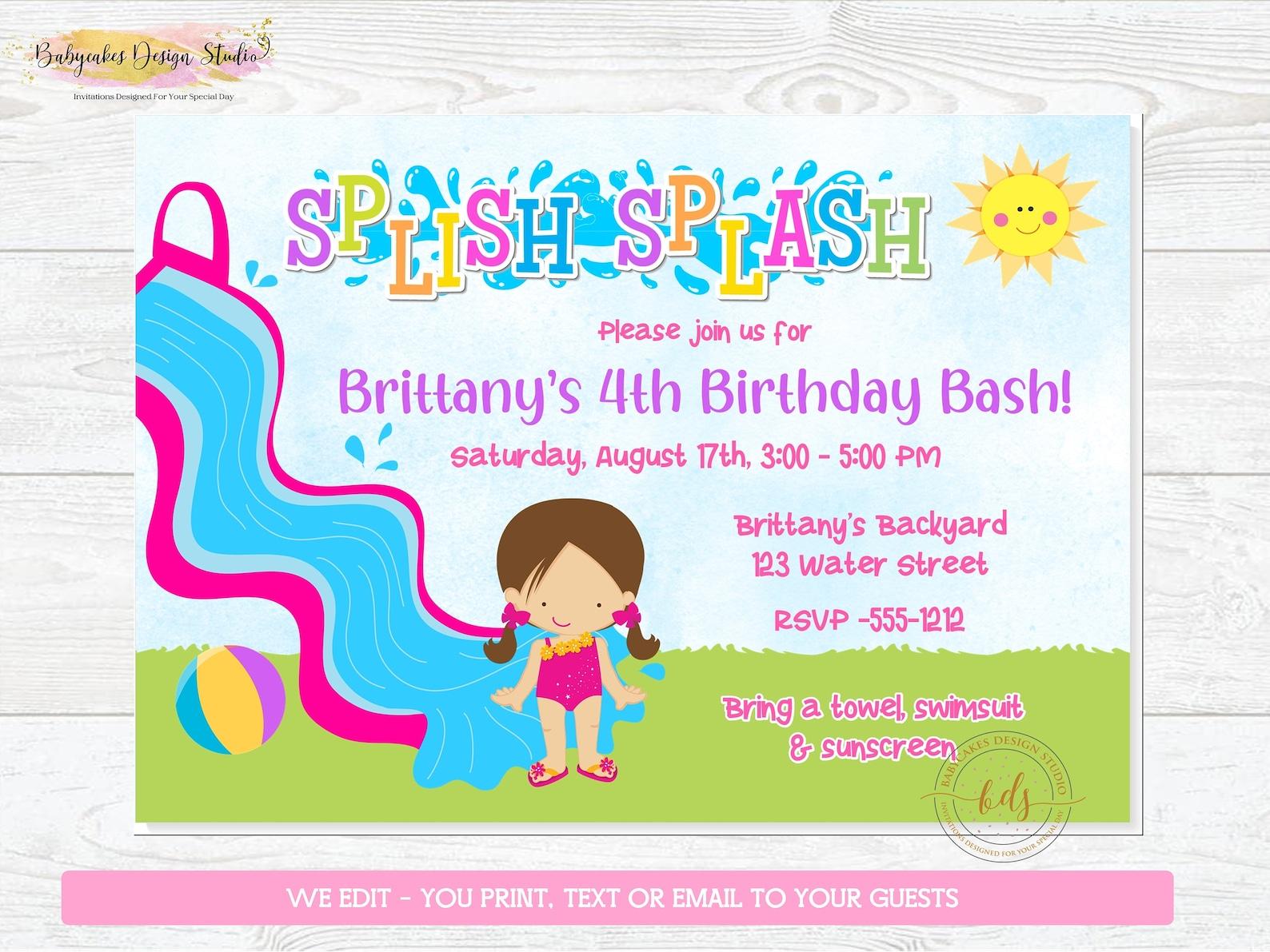 Girls Printable Waterslide Invitations