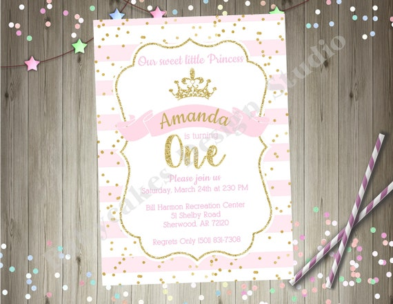 Princess 1st Birthday Invitation Pink And Gold