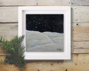 Fine Art Original Encaustic Painting Silent Night