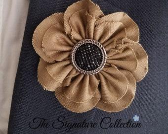 Fabric Flower Brooch - Beige and Black - Fabric Daisy - Vintage Fabrics