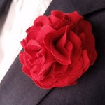 Red Flower Lapel Pin, Dapper Fabric Flower, Floral Hair Accessories, Carnation Boutonniere for Men