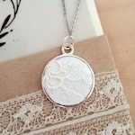 Personalized from Your Wedding Dress, Sentimental Gifts, Lace Dress Pendant Necklace in Stainless Steel