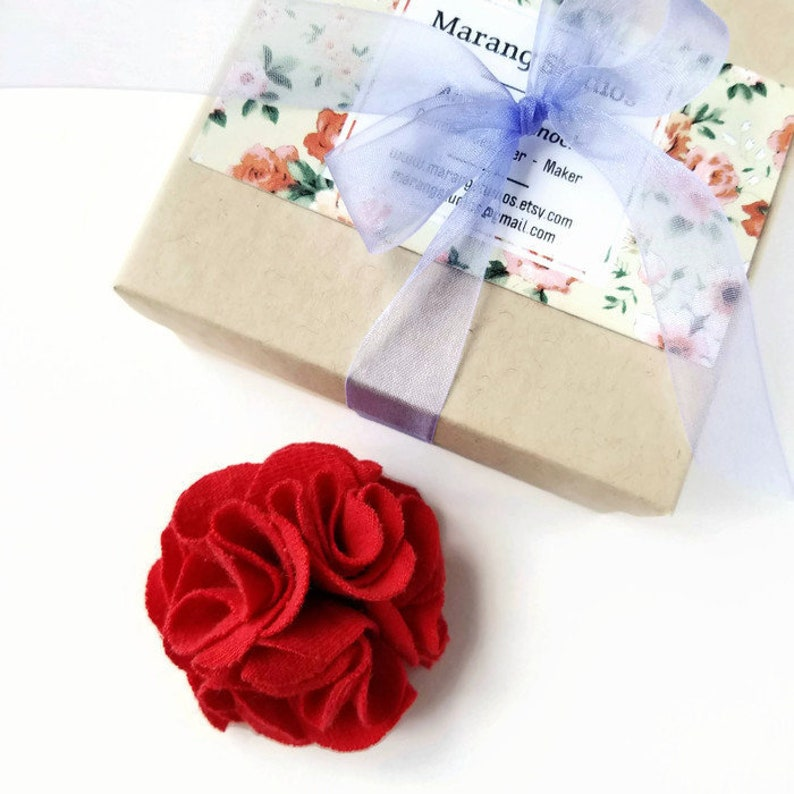 Small Red Flower Lapel Pin Fabric Flower Brooch Corsage image 0
