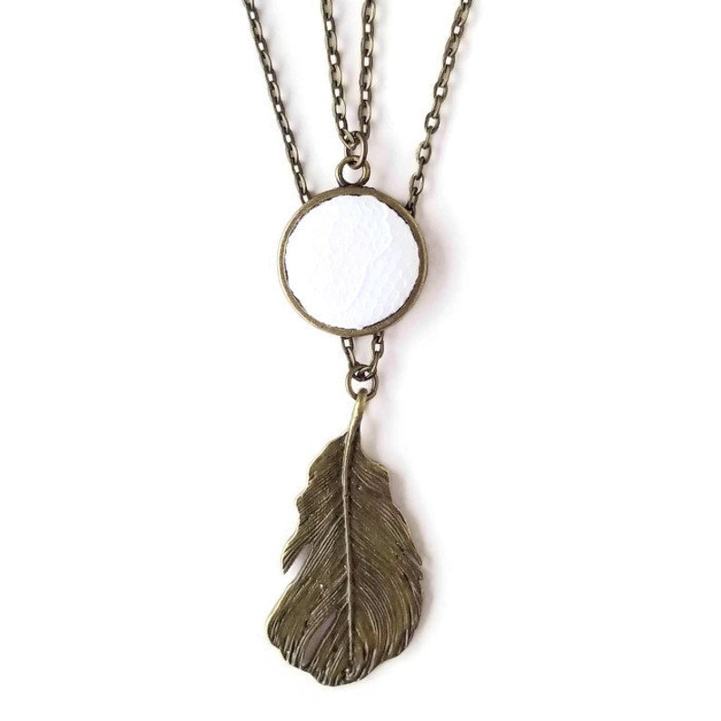 Vintage Inspired Layered Necklace with Lace and Feather image 0