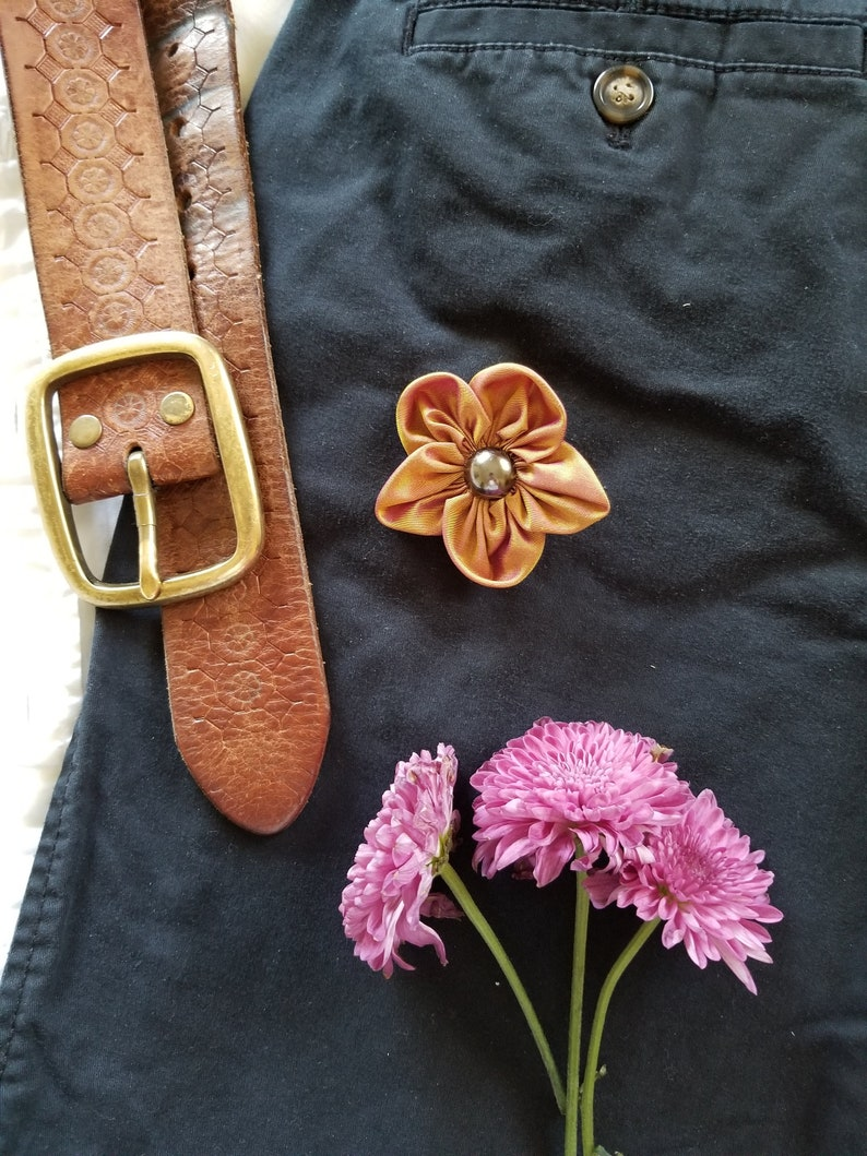 Gold and Violet Silk Fabric Forget Me Not Lapel Pin Gold Fabric Flower Brooch