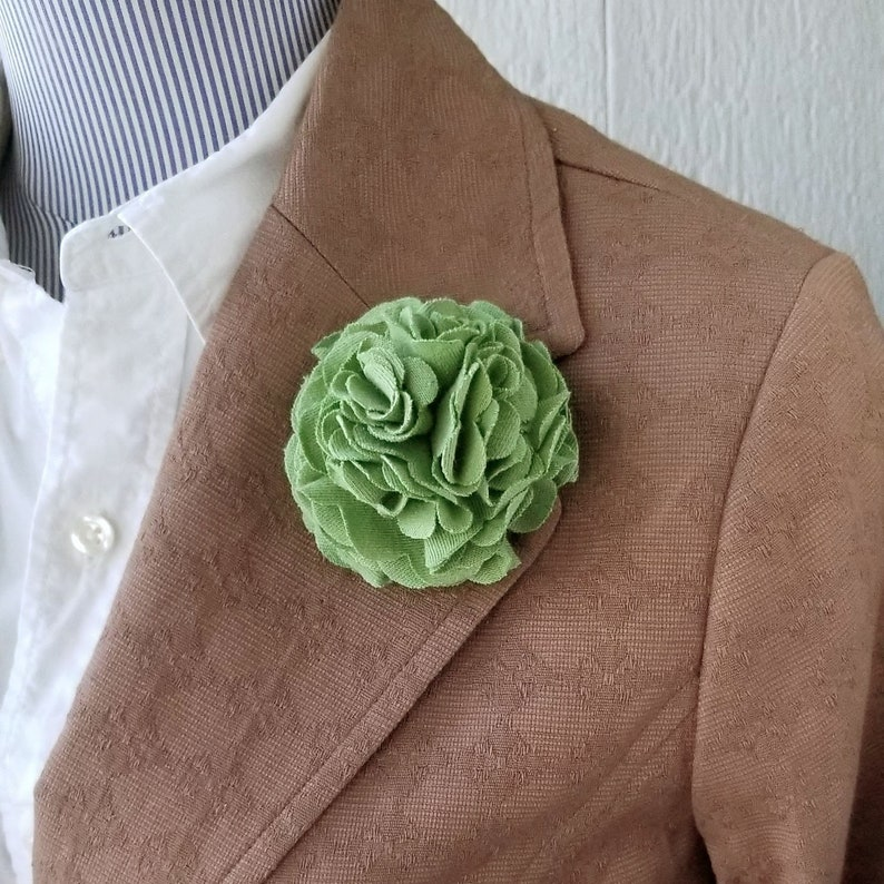 Carnation Flower Lapel Pin and Clip  Green Fabric Flower  image 0