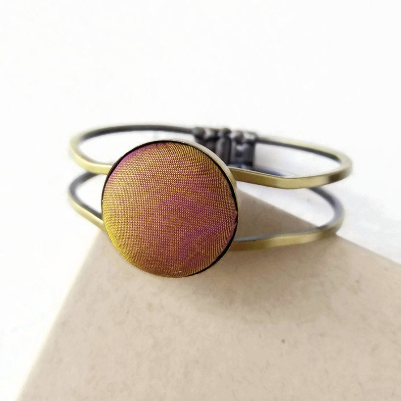 Burnt Orange Bracelet for Women Gold Silk Fabric Bohemian image 0