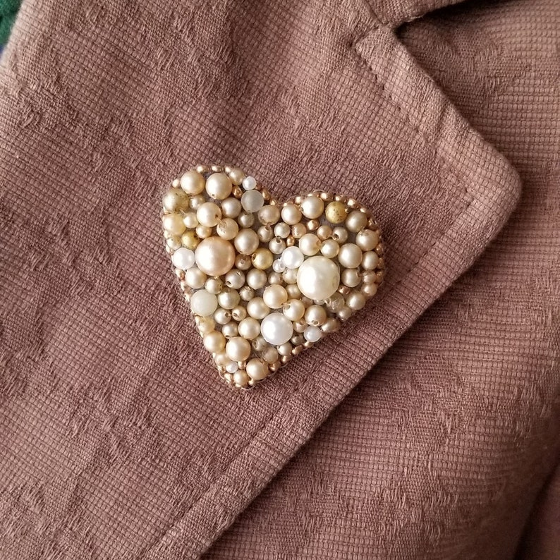 Heart Lapel Pin Beaded Heart Brooch Vintage Pearls Gifts image 0