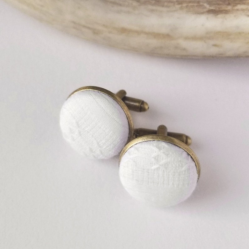 White Lace Cufflinks Groomsmen Proposal Mens Wedding image 0