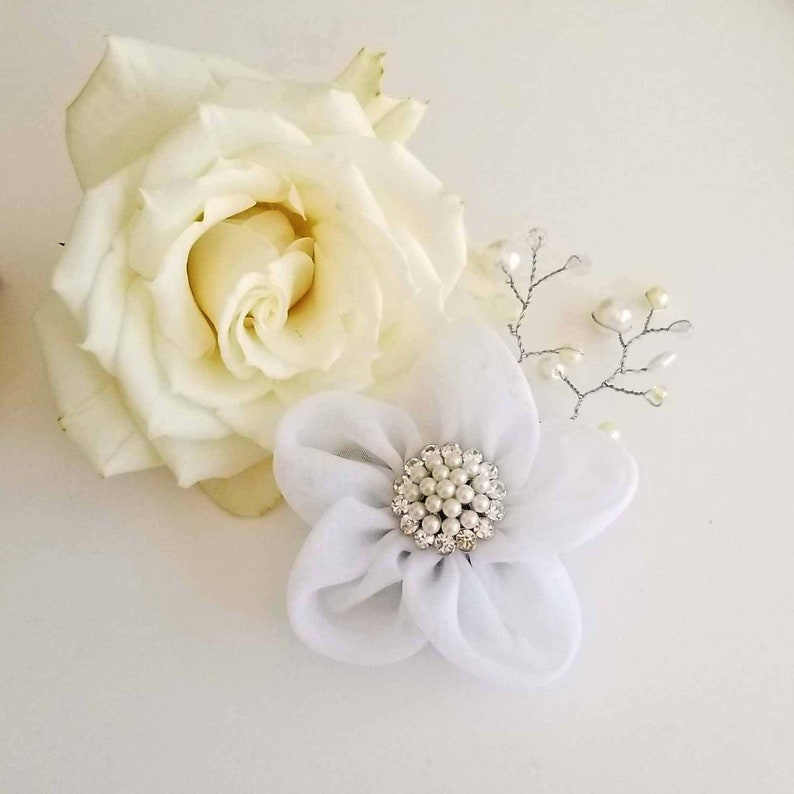 Beaded Wedding Boutonniere in White or Ivory Wedding Hair image 0