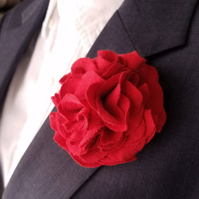 Red Flower Lapel Pin Dapper Fabric Flower Floral Hair image 0