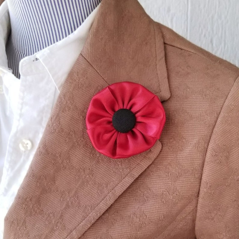 Poppy Lapel Pin Floral Fabric Brooch Remembrance Day Pin image 0