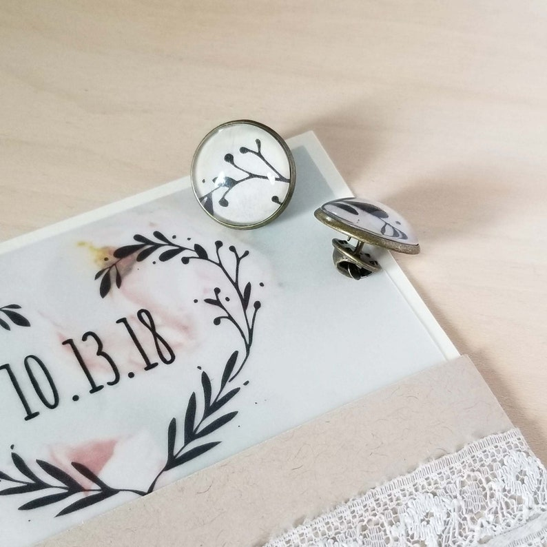 1st Wedding Anniversary Tie Tack Customized with Your Wedding image 0