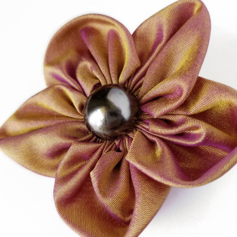 Gold Fabric Flower Brooch Forget Me Not Lapel Pin Gold and image 0
